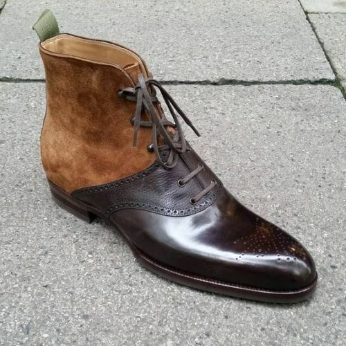 Handmade Men's Tan Brown Leather And Suede Two Tone High Ankle Lace Up Boots