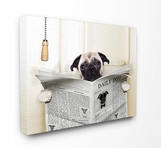Stupell Industries Pug Reading Newspaper in Bathroom Stretched Canvas Wa... - $35.53