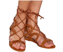Marc Fisher Suede Lace-up Sandals - Kapre Cognac 10M - £31.44 GBP