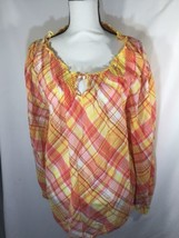 Lane Bryant Women Orange Yellow Blouse Scoop Neck Size 14/16 Long Sleeve... - $22.44