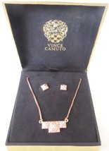 Vince Camuto Necklace Earring Set, Rose Gold Rhinestone Pyramid Stud MSR... - $30.23