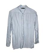 Ermenegildo Zegna Men's Sz L Button Down Shirt Light Blue Vertical Strip... - $37.95