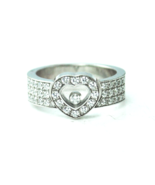 18kwg Chopard Happy Diamond 10mm Heart Ring 83-2937-20 6mm Wide Band Size 7 - $3,959.99