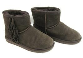 Minnetonka Brown Fringe Moccasin Suede Ankle Boots 6 Shearling Sheepskin... - $32.66