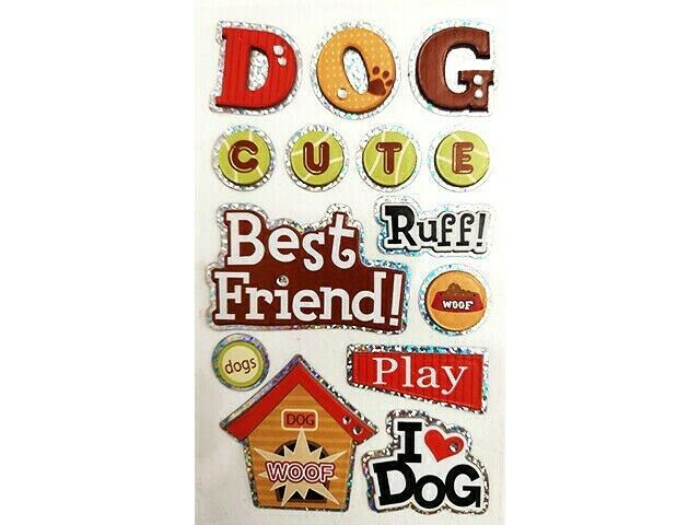 Dog-Themed Foiled Dimensional Sticker Set