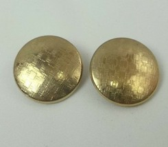 "VINTAGE TEXTURED ROSE GOLD TONE CLIP-ON BUTTON EARRINGS 1"" (D6) - $7.02"