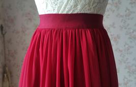 RED Bridesmaid Chiffon Maxi Skirt Plus Size Red Full Long Chiffon Wedding Skirt image 7