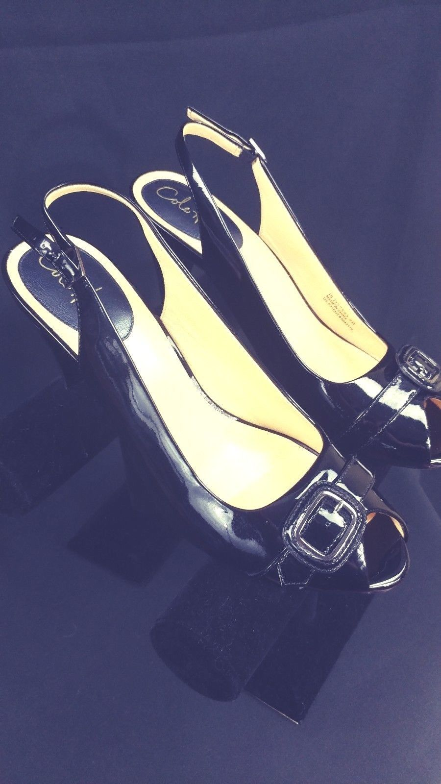 6f619fbafb0e S l1600. S l1600. Previous. Cole Haan Womens Peep Toe Slingback 3 inch Heels  Black Patent Leather ...