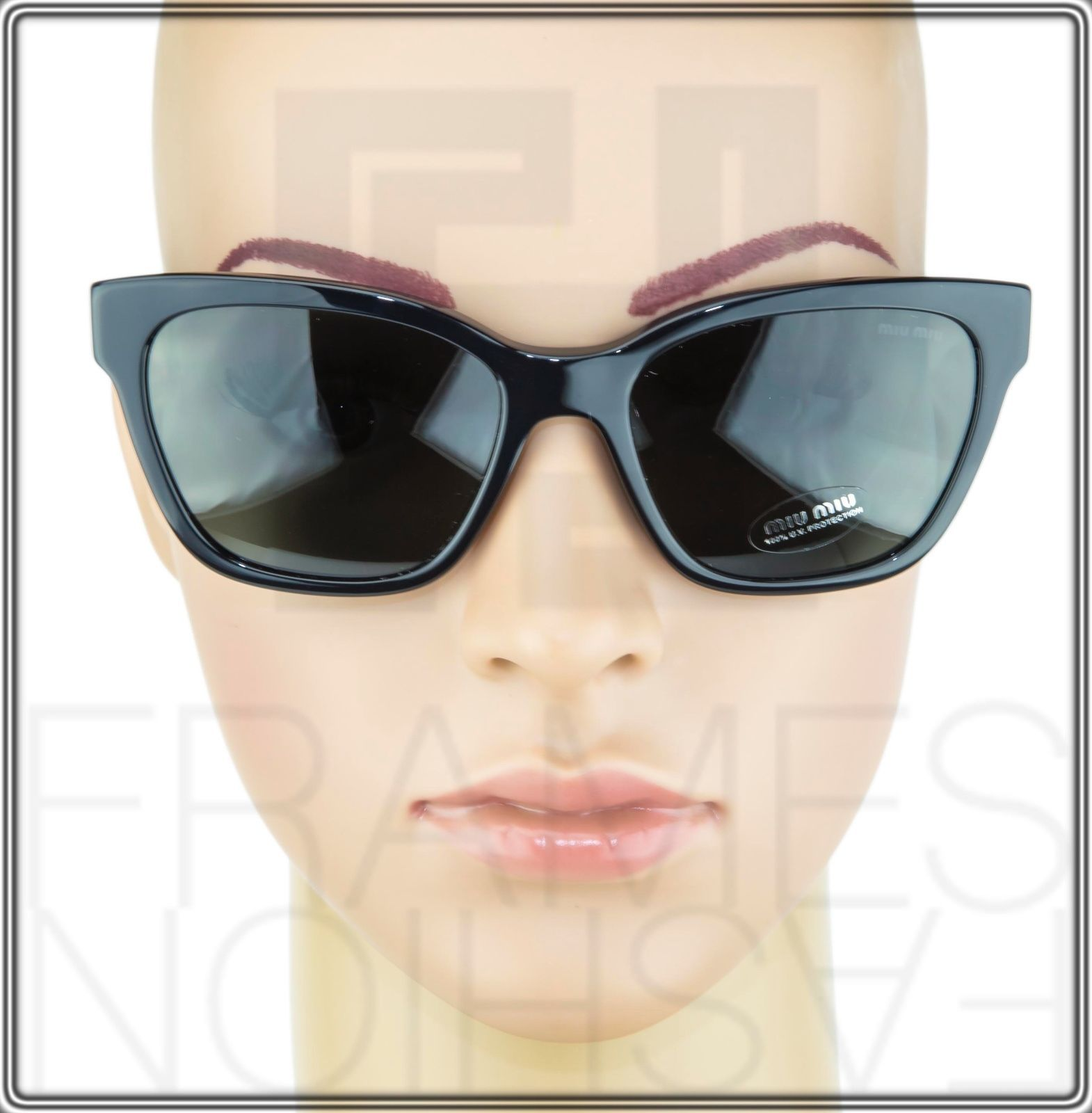 MIU MIU PAVE EVOLUTION MU 06R Square Black Rock 1AB-1A1 Sunglasses MU06RS Women image 3