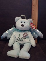 "TY Beanie Baby ""Halo"" Angel Bear  (light blue with blue tush Tag & Brown Nose) - $29.99"