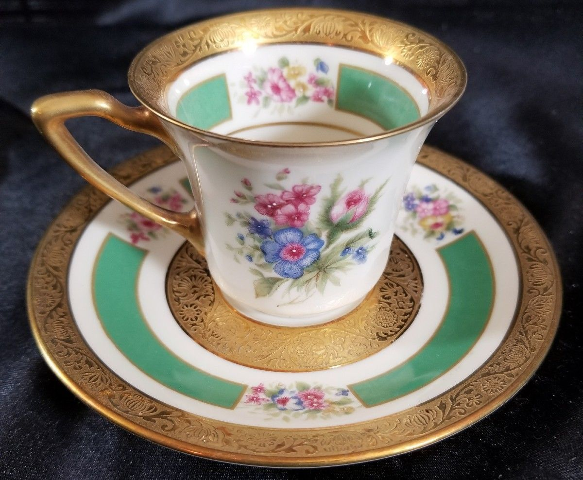 Primary image for ROSENTHAL 5841 Demitasse Cup/Saucer GOLD ENCRUSTED  FLORAL (multiple available)