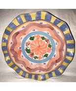 World Bazaar Lrge Centerpiece Fruit Bowl Glazed Terra Cotta Scalloped Ri... - $25.99