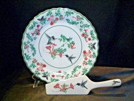 Porcelain National Wildlife Federation Hummingbird Platter & Server Andrea by Sa image 6