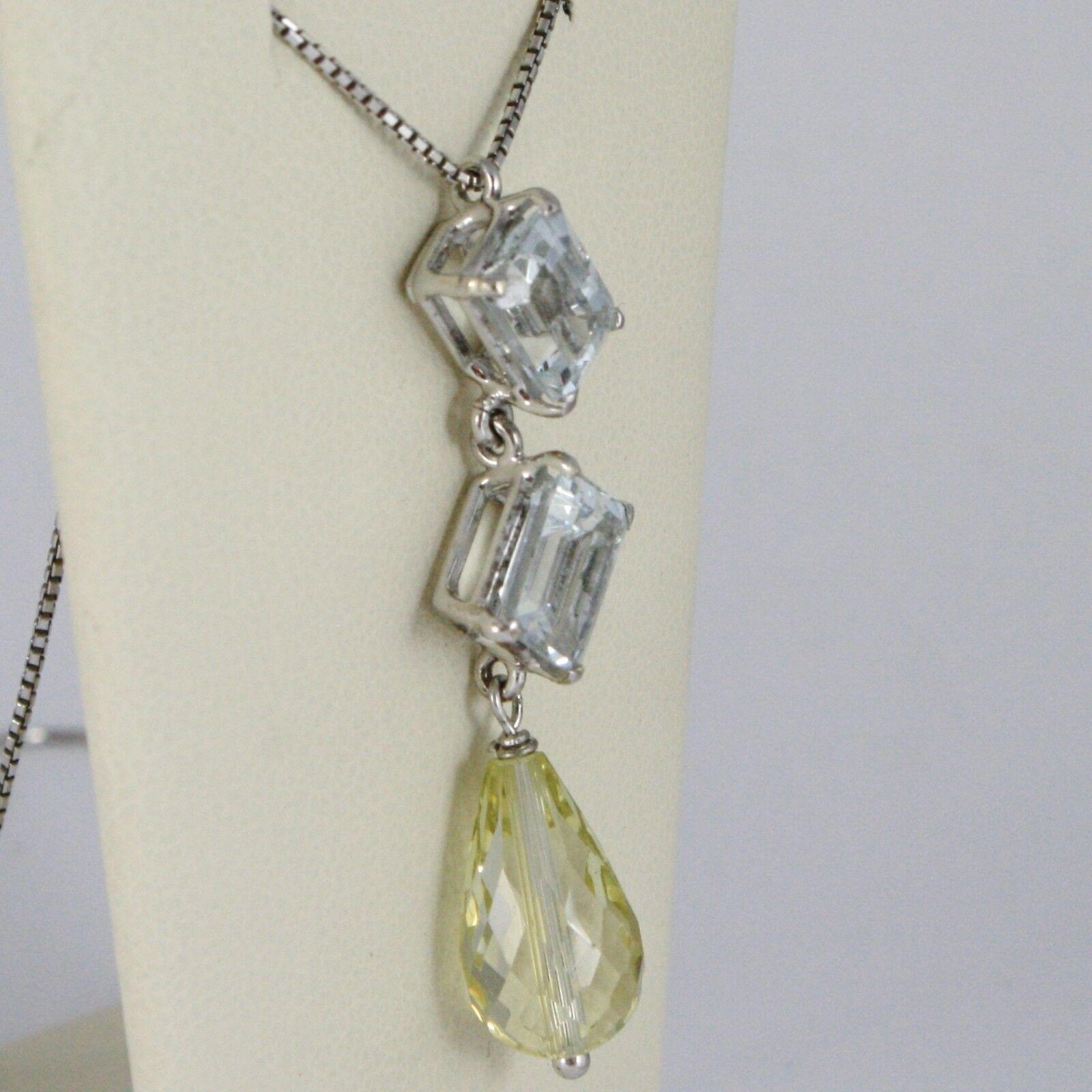 Halskette Weißgold 750 - 18K Aquamarin Schnitt Smaragd und Quarz Lemon Tropf
