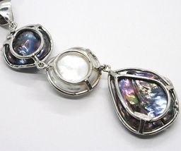 Silber Anhänger 925, Drei Perlen Barock-Stil, Disco Tropf, Zirkonia, Made Italy image 5