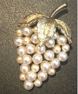 Vintage Faux Pearl Grapes Fruit Brooch Pin Beautiful Piece - £9.25 GBP
