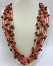 Joan Rivers Bib Necklace Coral Pink Seed & Brown Wood Wooden Bead Multi Strand  - $36.62