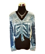 H&M Divided Women's Lux Velvet Blue Crop Sweater Top -  Large L - $27.47