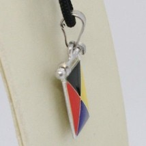 SOLID 925 STERLING SILVER PENDANT WITH NAUTICAL FLAG, LETTER Z, ENAMEL, CHARM image 2