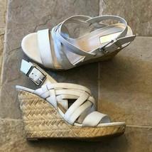 Jessica Simpson Wedge Sandal Womens Size 8.5 M White Strappy Julita High... - $24.99