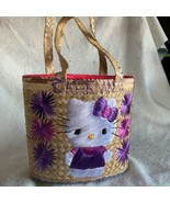 Hello Kitty Sanrio Bucket Bag Purse Handbag Woven Straw Bahama Embroidered - $27.73