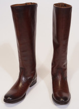 Frye Melissa Button Women Brown Cognac Leather Back Zip Tall Riding Boots 6 - $119.99