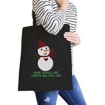 Some People Are Worth Melting For Snowman Black Canvas Bags - $19.89 CAD