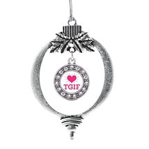 Inspired Silver TGIF Circle Holiday Decoration Christmas Tree Ornament - $14.69