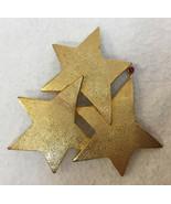 Brooch Pin Stars Shooting w/ Ruby Red Rhinestones Gold Tone Metal Vintag... - $18.80