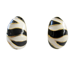 KJL Kenneth Jay Lane Black & White Enamel Zebra Design Earring Clips - $46.00