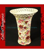 Formalities Summer Rose Chintz Vase by Baum Bros Lattice Gold Ivory Pink... - $44.54