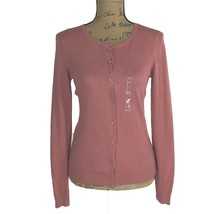 NEW Ann Taylor Cardigan Sweater XS Button Front Long Sl Dusty Rose Salmon Pink - $24.95