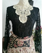 Black lace top 8 10  Gothic. Steampunk. Whitby victoriana pearls embelis... - $54.27