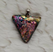 Dichroic Glass Pendant Iridescent Pink Blue Purple Green Gold Artisan Pr... - $15.84