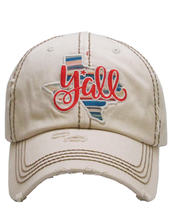 Distressed Embroidered Texas State Y'all Baseball Hat Vintage Style image 8