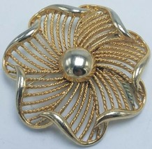 Vintage Lisner Gold-Tone Twisted Rope Swirl Brooch Pin VGC - $34.95