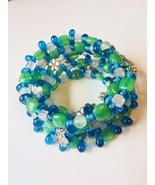 Gemstone Wire Wrap Bracelet with Pewter Charms - $12.00