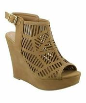TOP MODA, Tan Abella Cutout Wedge Sandal, Sz 6 - $25.74
