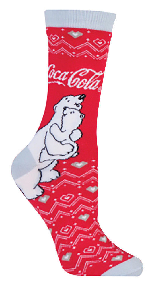 Coca Cola - 3er Pack Damen Baumwolle Weihnachtssocken / Socken mit Herzen Motiv