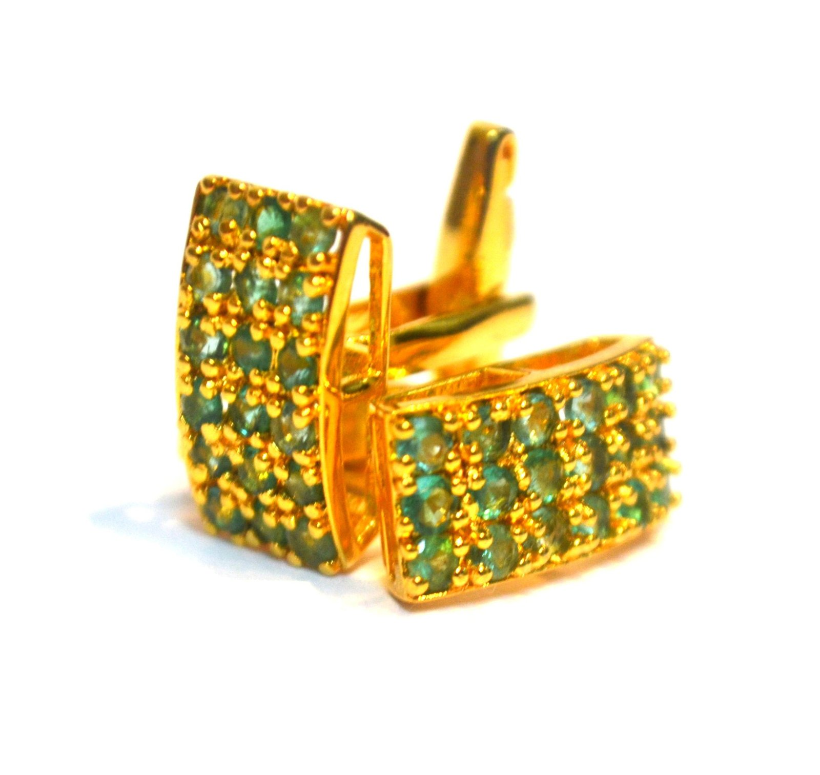 925 Sterling Silver Natural Fine Quality Emerald Gemstone Gold Plated Artistic H