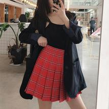 Plus Size RED Plaid Skirt Outfit High Waisted Full Pleated Plaid Tennis Skirts image 4