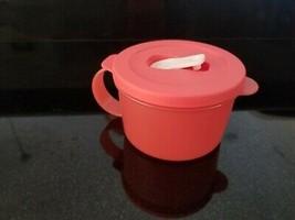 Tupperware CrystalWave Soup Mug Round 2 cup Microwave RED RARE - $17.94