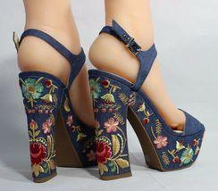 Jessica Simpson Divella Damen High Heels Offen Sandalen Denim Stickerei Größe 7 image 3