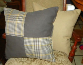 Pair of Gray Beige Plaid Patchwork Print Throw Pillows  18 x 18 - $49.95