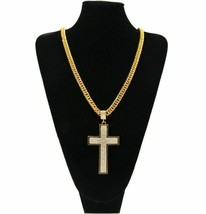Mens 14K Gold Finish Iced Out CZ Large Bling Cross Pendant Necklace w/ 3... - $9.49