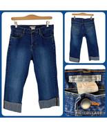 ALBERTO MAKALI Stretch Denim Cuffed Capri Blue Jeans Women's 8 30x19 Dar... - $20.00