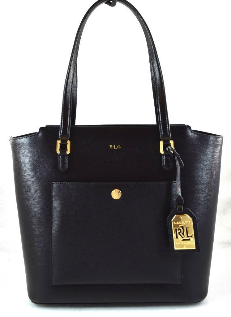 d6b57db4d9c7 AUTHENTIC NEW NWT RALPH LAUREN  198 LEATHER BLACK LOWELL MODERN POCKET TOTE