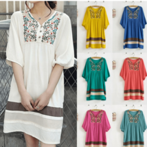 Flower Embroidered Cotton Maternity Dress - $29.00
