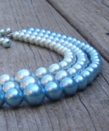 Vintage Trifari Blue Glass Pearl Necklace, Triple Strand - $60.00