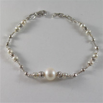 925 SILVER BRACELET WITH 8 MM ROUND FW PEARL AND FACETED BALLS ITALIAN J... - $75.05